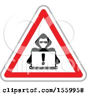 Clipart Of A Hacker With A Laptop Computer In A Warning Triangle Royalty Free Vector Illustration