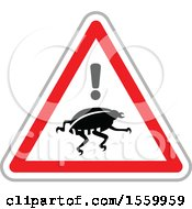 Clipart Of A Bug Warning On An Internet Attack Triangle Royalty Free Vector Illustration