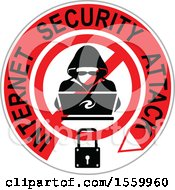 Clipart Of A Hacker Over A Laptop Computer In A Circle Royalty Free Vector Illustration