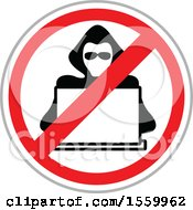 Clipart Of A Hacker Over A Laptop Computer In A Restricted Symbol Royalty Free Vector Illustration