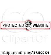 Clipart Of A Police Man On A Protected Website Banner Design Royalty Free Vector Illustration