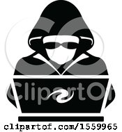 Clipart Of A Hacker Over A Laptop Computer Royalty Free Vector Illustration
