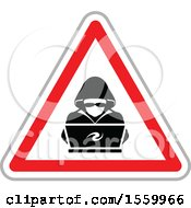 Clipart Of A Hacker Over A Laptop Computer In A Warning Triangle Royalty Free Vector Illustration