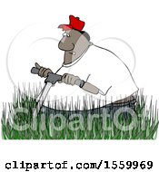 Clipart Of A Cartoon Black Man Mowing In Really Tall Grass Royalty Free Vector Illustration