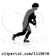 Poster, Art Print Of Silhouetted Male Armed Soldier With A Reflection Or Shadow On A White Background