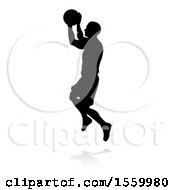 Clipart Of A Silhouetted Basketball Player With A Reflection Or Shadow On A White Background Royalty Free Vector Illustration by AtStockIllustration