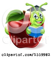 Poster, Art Print Of Cartoon Happy Green Graduate Book Worm Reading In A Red Apple
