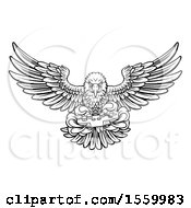 Clipart Of A Black And White Cartoon Swooping American Bald Eagle With A Video Game Controller In Its Claws Royalty Free Vector Illustration