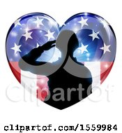 Clipart Of A Silhouetted Military Veteran Or Soldier Saluting In An American Themed Flag Heart Royalty Free Vector Illustration by AtStockIllustration