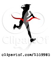 Poster, Art Print Of Black Silhouetted Female Graduate Running A Race With A Shadow Breaking Through A Red Finish Line Ribbon