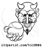 Clipart Of A Black And White Grinning Evil Devil Holding Out A Baseball In A Clawed Hand Royalty Free Vector Illustration
