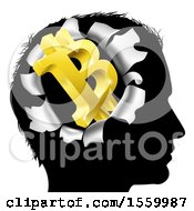 Clipart Of A Black Silhouetted Mans Head With A 3d Gold Bitcoin Symbol Breaking Out Thinking About Money Royalty Free Vector Illustration by AtStockIllustration