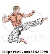 Clipart Of A Muscular Kung Fu Martial Artist Kicking Royalty Free Vector Illustration