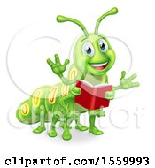 Clipart Of A Happy Green Caterpillar Holding A Book Royalty Free Vector Illustration by AtStockIllustration