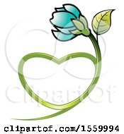 Clipart Of A Turquoise Flower With A Heart Shaped Stem Royalty Free Vector Illustration