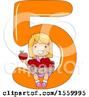 Clipart Of A Happy Blond White Girl Holding 5 Apples And Sitting On Number Five Royalty Free Vector Illustration