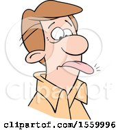 Clipart Of A White Man With A Word On The Tip Of His Tongue Royalty Free Vector Illustration by Johnny Sajem