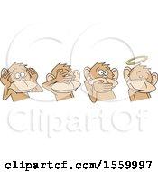 Clipart Of Hear No Evil See No Evil Speak No Evil And Do No Evil Monkeys Royalty Free Vector Illustration