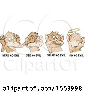 Clipart Of Hear No Evil See No Evil Speak No Evil And Do No Evil Monkeys With Text Royalty Free Vector Illustration