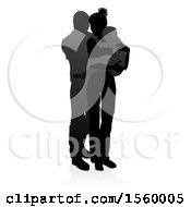 Silhouetted Mother Father And Baby With A Shadow On A White Background