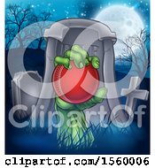 Clipart Of A Rising Zombie Hand Holding A Cricket Ball In A Cemetery Royalty Free Vector Illustration by AtStockIllustration