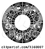 Clipart Of A Black And White Horoscope Zodiac Astrology Circle Royalty Free Vector Illustration by AtStockIllustration