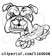 Clipart Of A Black And White Tough Bulldog Mascot Holding A Video Game Controller Royalty Free Vector Illustration