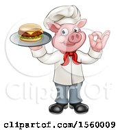 Full Length Chef Pig Holding A Cheeseburger On A Tray And Gesturing Okay