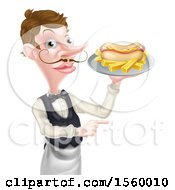 White Male Waiter Holding A Hot Dog And French Fries On A Platter And Pointing