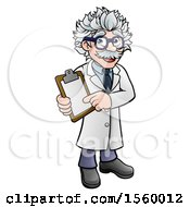 Clipart Of A Happy Male Scientist Holding A Clipboard Royalty Free Vector Illustration by AtStockIllustration