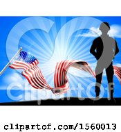 Clipart Of A Silhouetted Full Length Military Soldier Over An American Flag And Sky Royalty Free Vector Illustration