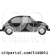 Clipart Of A Grayscale Classic Slug Bug Vw Volkswagen Car Royalty Free Vector Illustration