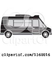 Clipart Of A Grayscale Passenger Van Royalty Free Vector Illustration