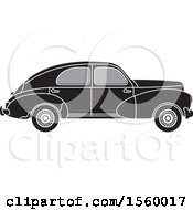 Clipart Of A Grayscale Vintage Peugeot Car Royalty Free Vector Illustration