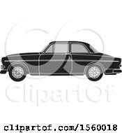 Clipart Of A Grayscale Classic Volvo Car Royalty Free Vector Illustration