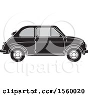 Clipart Of A Grayscale Vintage Fiat Car Royalty Free Vector Illustration