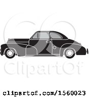 Clipart Of A Grayscale Vintage Chevrolet Car Royalty Free Vector Illustration