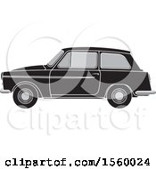 Clipart Of A Grayscale Vintage Car Royalty Free Vector Illustration