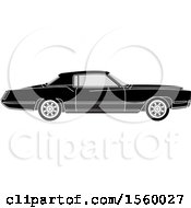 Clipart Of A Grayscale Classic Car Royalty Free Vector Illustration