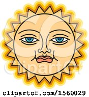 Clipart Of A Happy Yellow Sun Face Royalty Free Vector Illustration