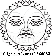 Clipart Of A Black And White Happy Sun Face Royalty Free Vector Illustration