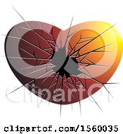 Clipart Of A Red Broken Glass Heart Royalty Free Vector Illustration by Lal Perera