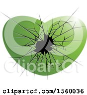 Clipart Of A Green Broken Glass Heart Royalty Free Vector Illustration by Lal Perera