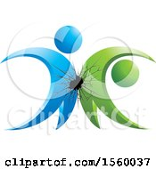 Clipart Of A Shatter With Green And Blue People Royalty Free Vector Illustration by Lal Perera