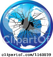 Clipart Of A Blue Broken Glass Globe Icon Royalty Free Vector Illustration by Lal Perera