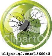 Clipart Of A Green Broken Glass Globe Icon Royalty Free Vector Illustration by Lal Perera