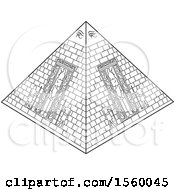Clipart Of A Black And White Ancient Egyptian Pyramid Royalty Free Vector Illustration