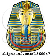 Clipart Of An Egyptian King Death Mask For Tutankhamun Royalty Free Vector Illustration