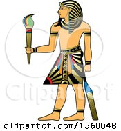 Clipart Of An Egyptian King Holding A Torch Royalty Free Vector Illustration