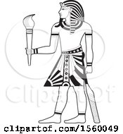 Clipart Of A Black And White Egyptian King Holding A Torch Royalty Free Vector Illustration